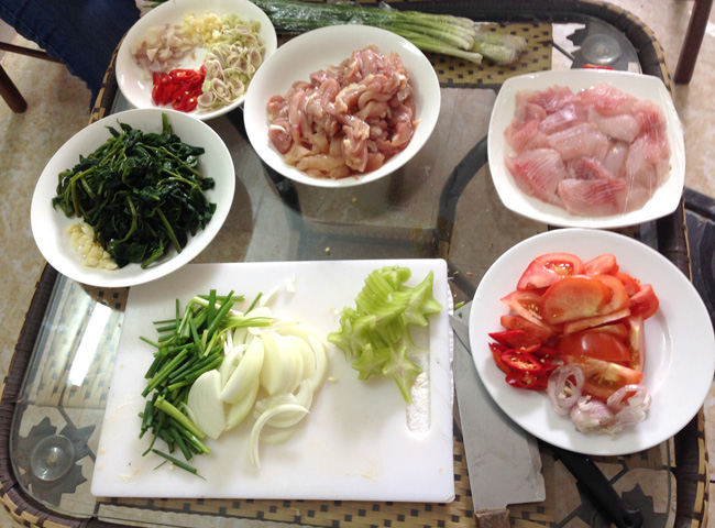 Ingredients for lemongrass chili chicken